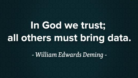 In God we trust; all others must bring data. - William Edwards Deming
