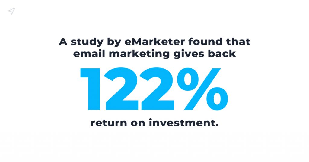A study by eMarketer found that email marketing gives back a 122% return on investment.