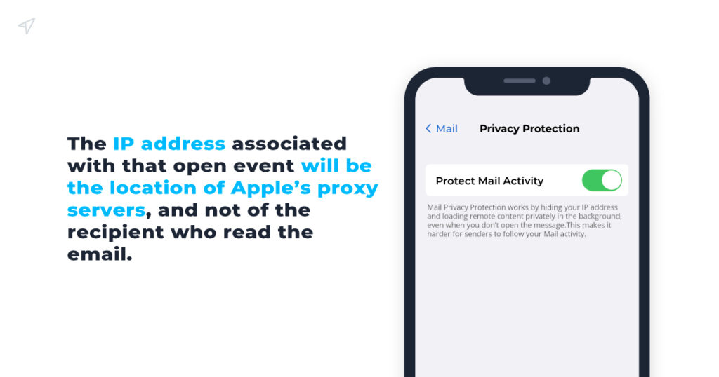 The IP address associated with that open event will be the location of  Apple's proxy servers, and not of the recipient who read the email